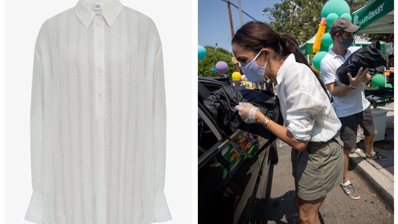 Meghan y su camisa de Victoria Beckham. (Cortesía)