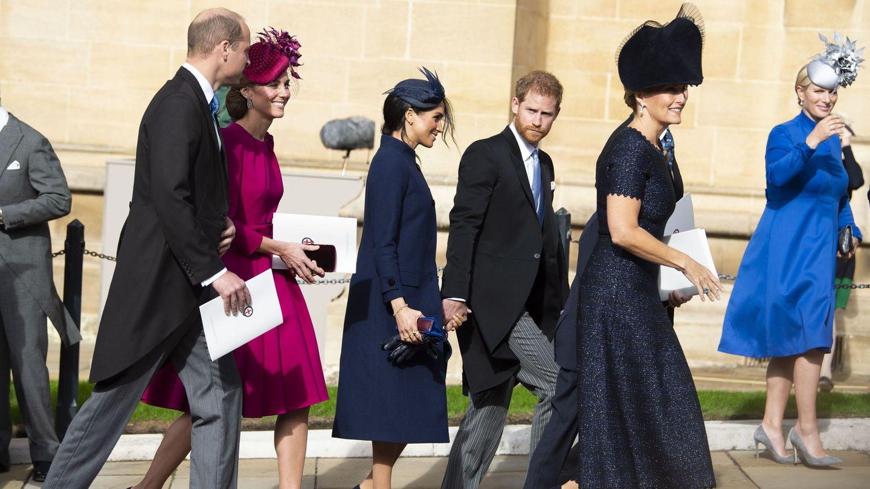 La pareja, durante la boda de Eugenia de York. (EFE)