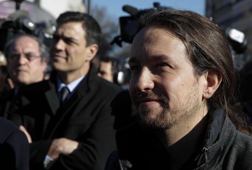Foto: Pedro Sánchez y Pablo Iglesias, el pasado 11 de marzo en el homenaje a las víctimas de los atentados yihadistas del 11-M. (EFE)