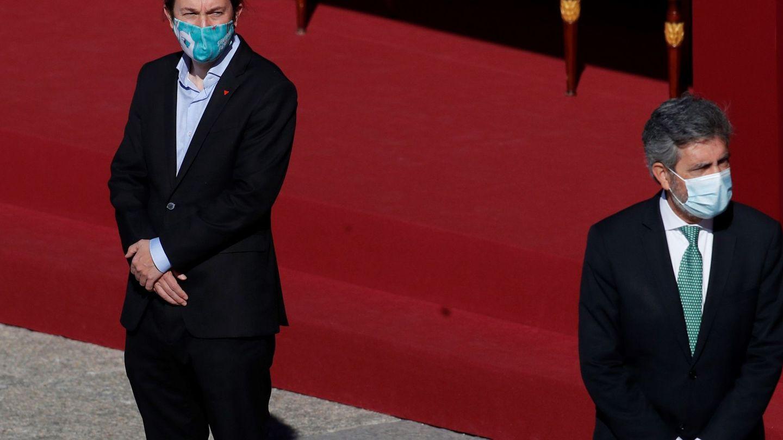 Pablo Iglesias, con su mascarilla republicana. (EFE)