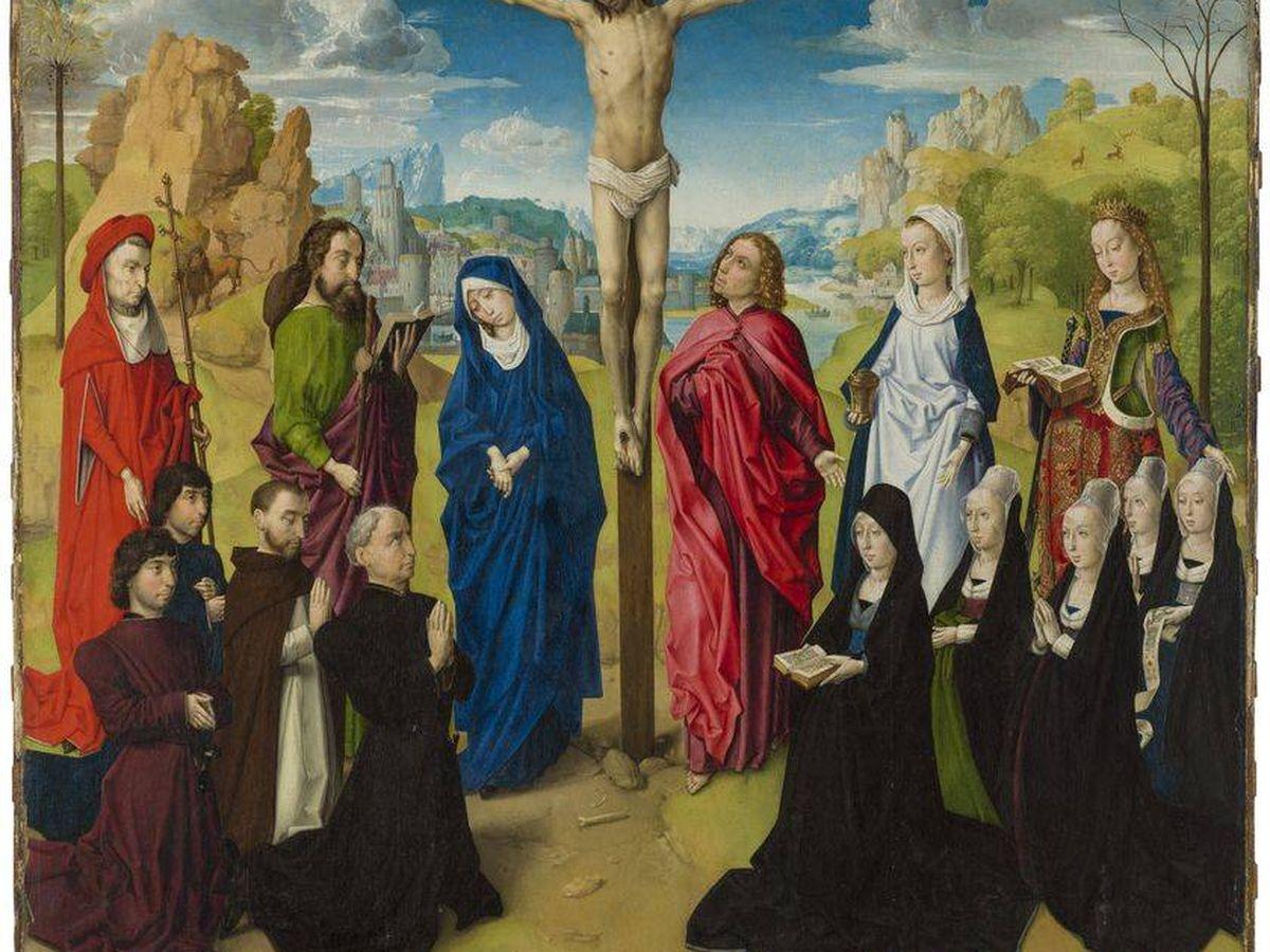 Foto: 'Calvario con santos y donantes', del círculo de Hugo van der Goes.