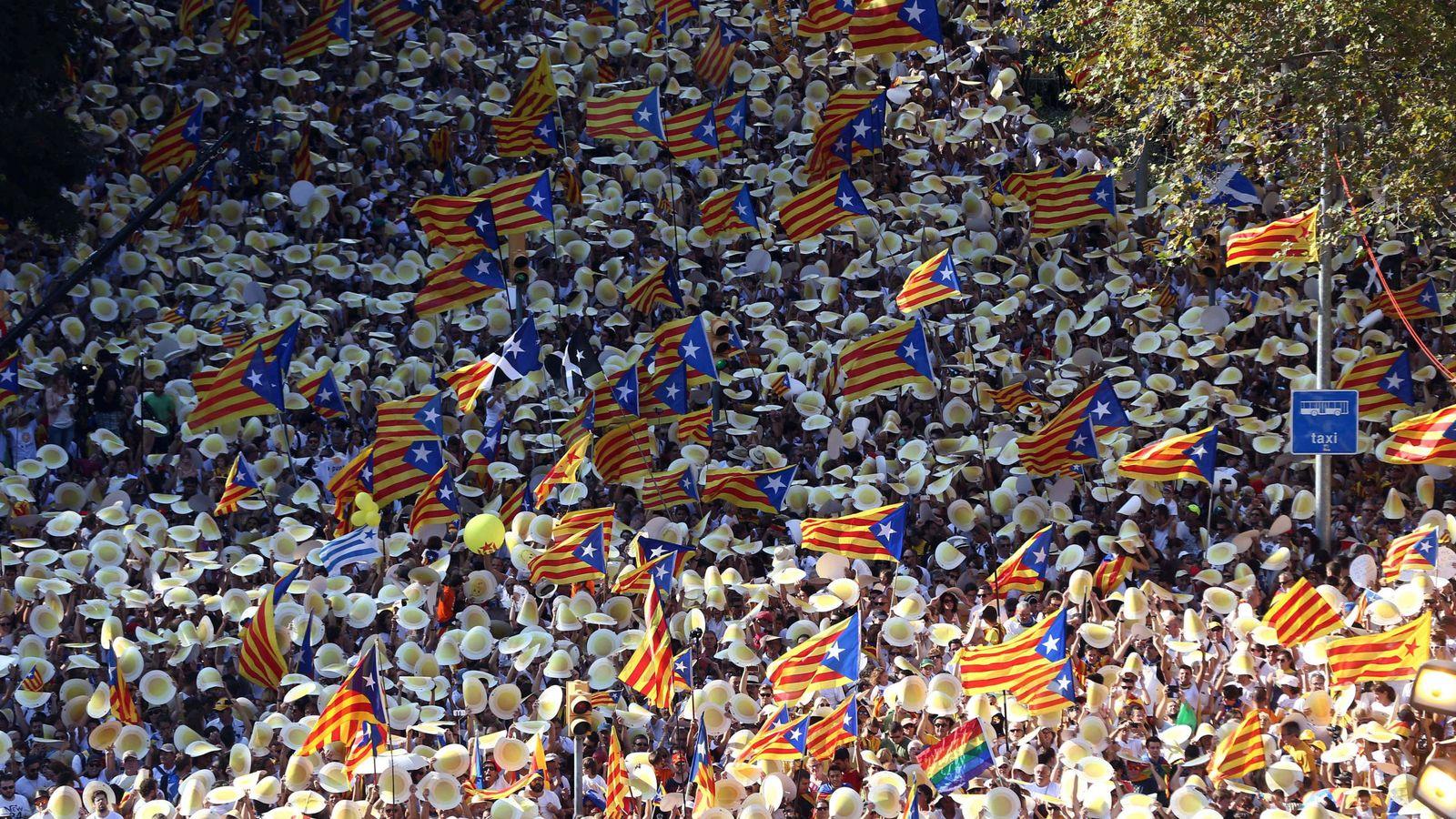Foto: Miles de personas participan en la diada. (Efe)