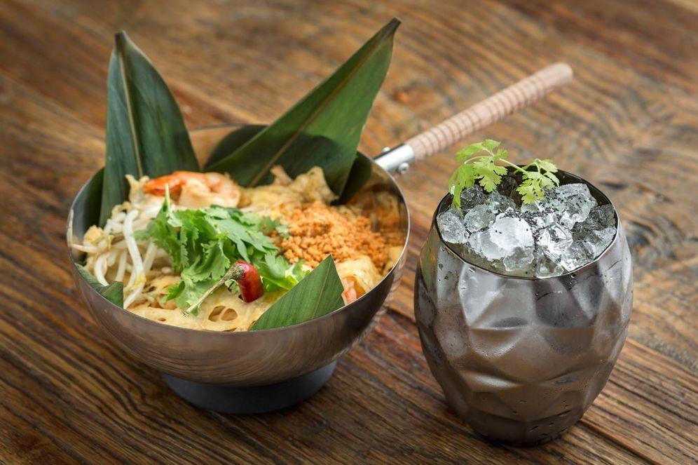 Foto: Guiso de fideos de arroz con gambas y pimentón de la Vera. (Cortesía)