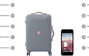 La maleta del futuro integra una báscula, cargador y datos del vuelo