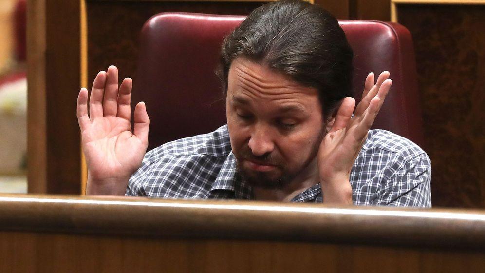 Foto: El líder de Unidas Podemos, Pablo Iglesias, durante el pleno extraordinario por el Open Arms. (EFE)