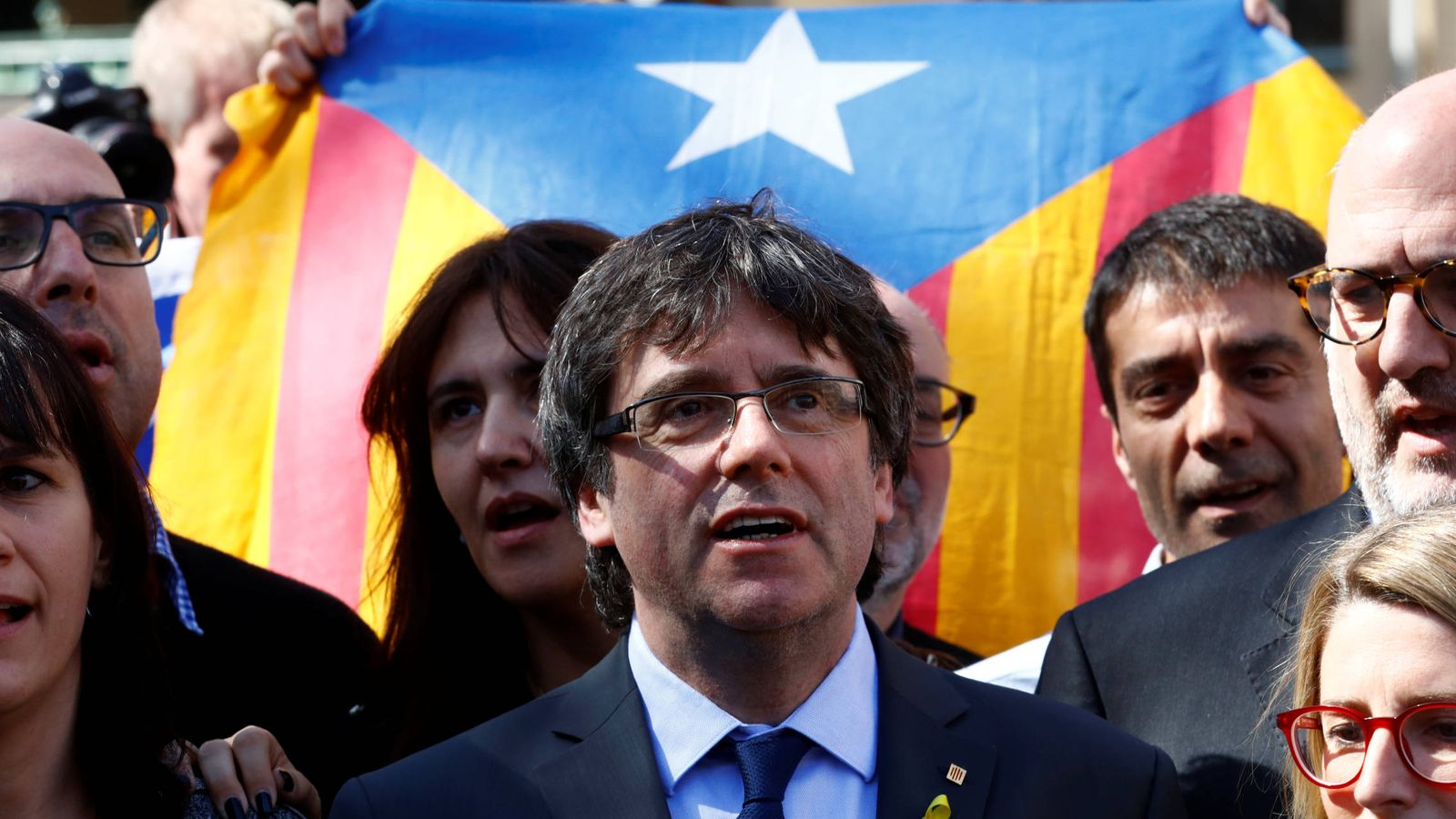 Foto: El 'expresident' Carles Puigdemont, durante una comparecencia de prensa en Berlín, el 7 de abril de 2018. (Reuters)