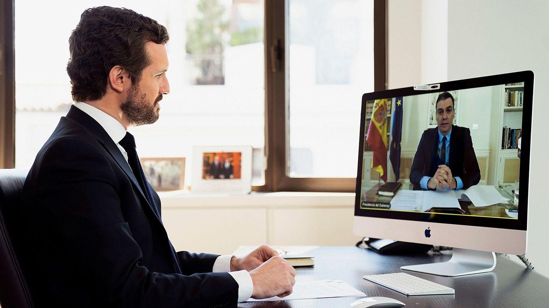 Pablo Casado mantiene una videoconferencia con Pedro Sánchez. (EFE)