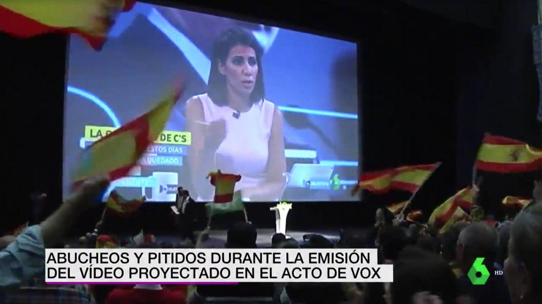 Imagen de la presentadora Ana Pastor en el acto de Vox. (Atresmedia)