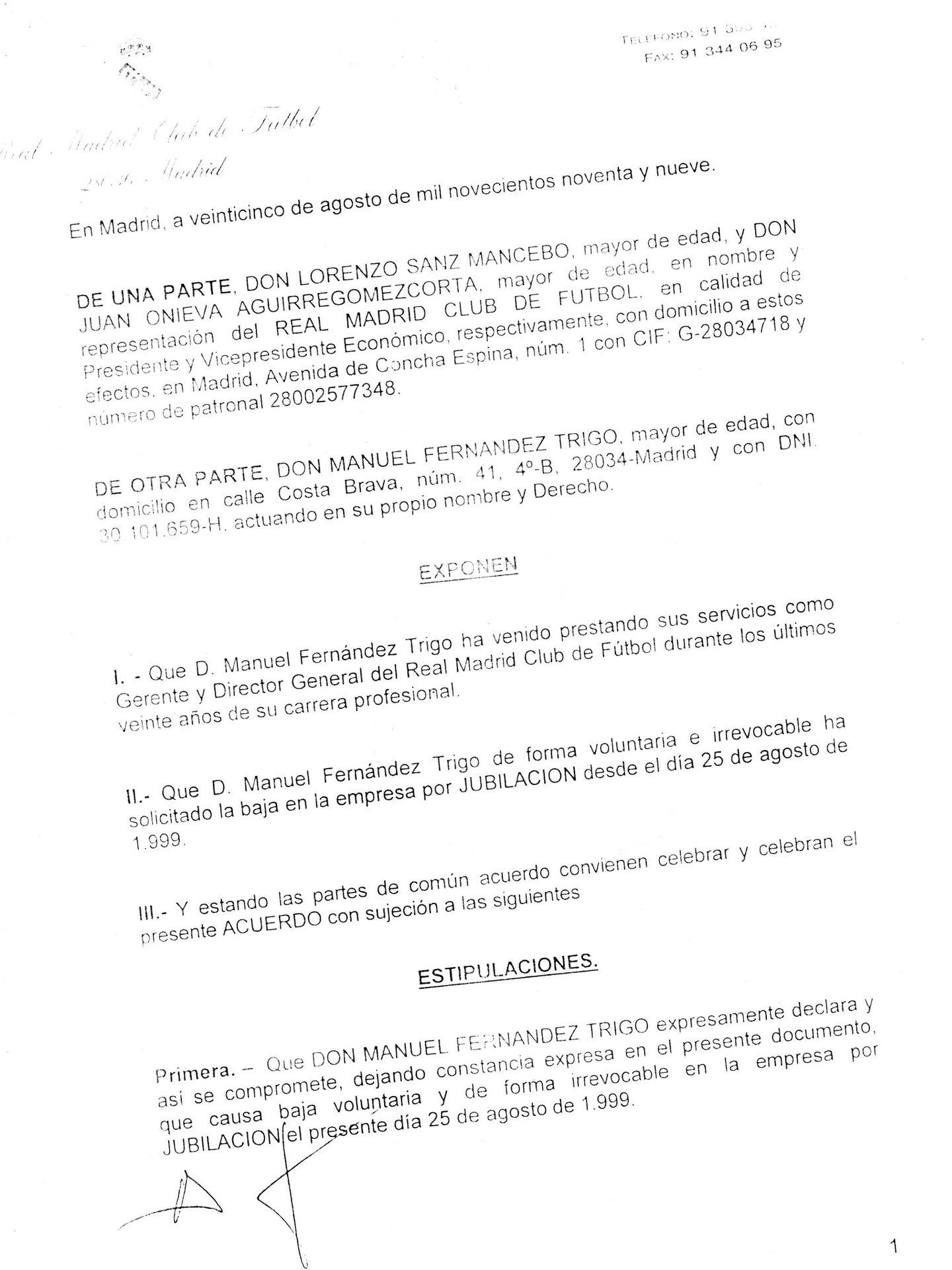 Documento que Fernández Trigo negoció con Lorenzo Sanz y Juan Onieva para abandonar el Real Madrid