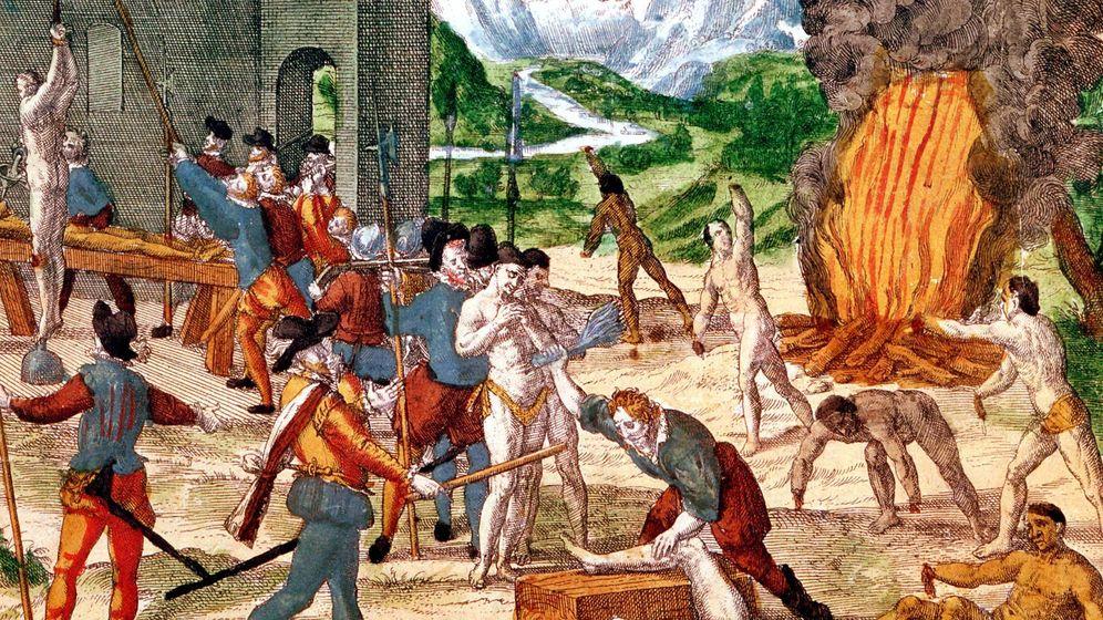 Foto: Grabado propagandístico de la leyenda negra del belga Thierry de Bry que mostraría al conquistador Hernando de Soto torturando a los jefes nativos de Florida.