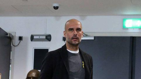 Guardiola desoye y desafía a la federación inglesa con el lazo amarillo en Wembley