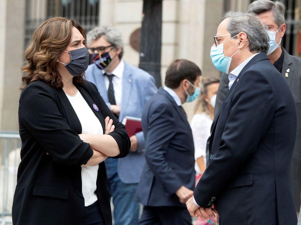 Foto: La alcaldesa de Barcelona, Ada Colau, y el 'expresident' Quim Torra. (EFE)