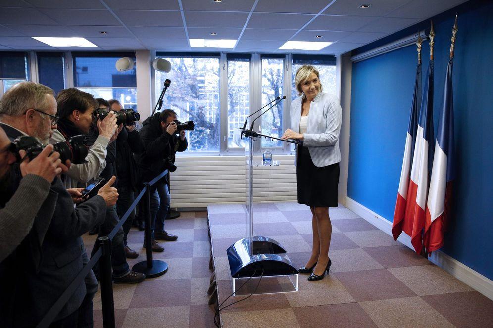 Foto: Rueda de prensa de Marine Le Pen para hablar de la victoria de Trump (EFE)