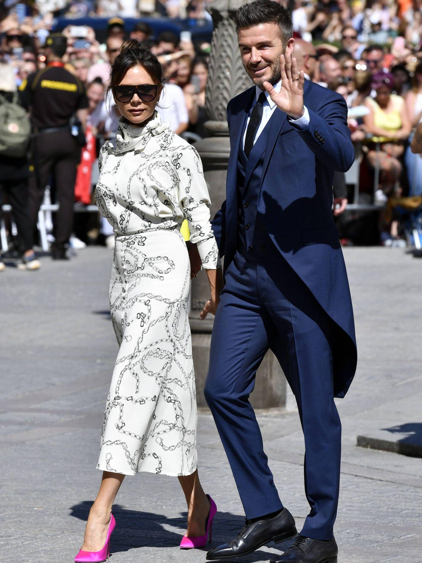 Los Beckham en la boda de Sergio Ramos y Pilar Rubio. (Reuters)