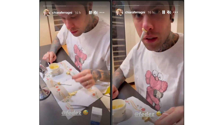 El proceso de depilación facial en Fedez. (Instagram @chiaraferragni)