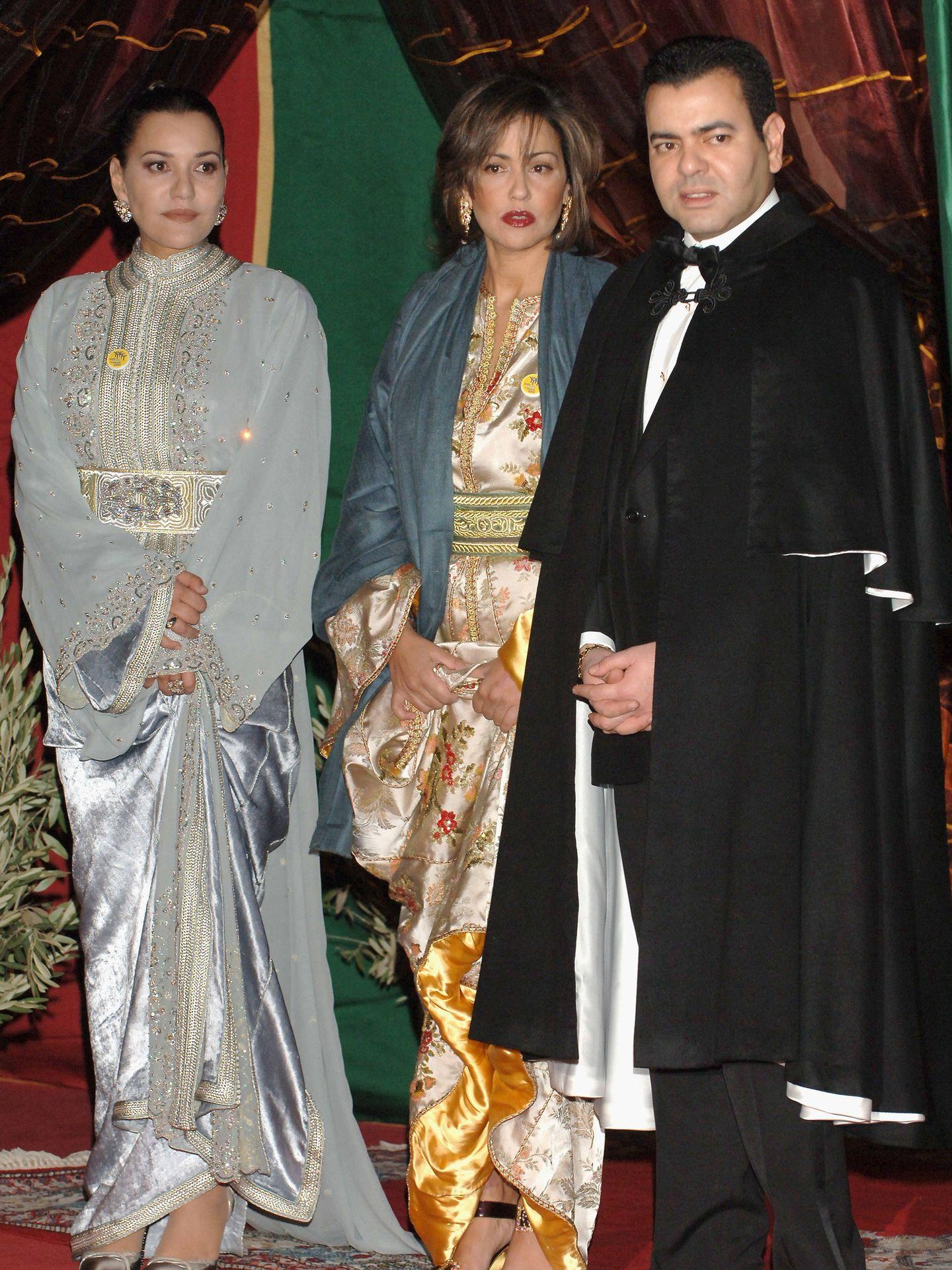 Lalla Hasna, Lalla Meryem y Mulay Rachid, hermanos del rey Mohamed VI. (Getty)