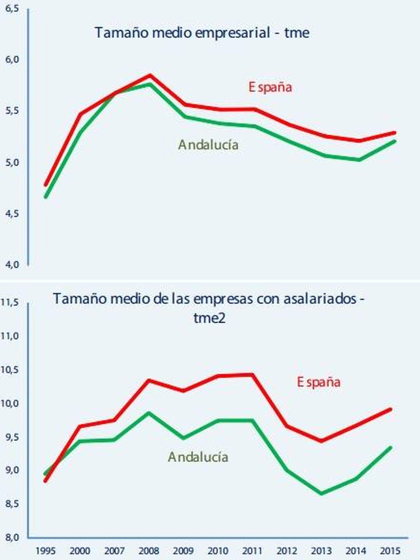 Tamaño medio de las empresas andaluzas vs españolas. (CEA)
