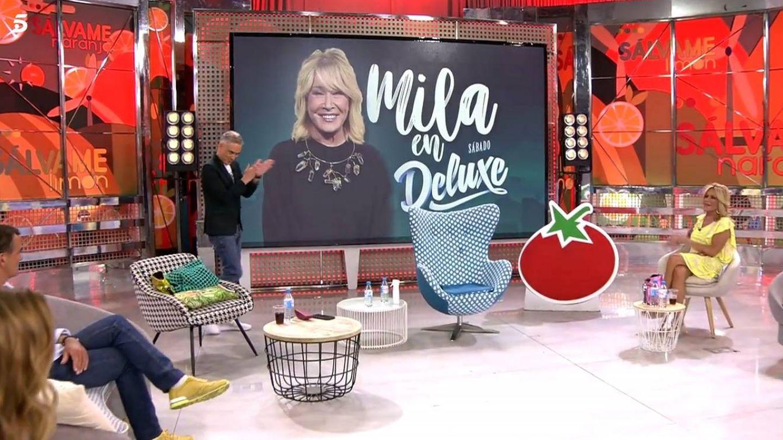 Fotograma de 'Sálvame' al anunciar la presencia de Mila Ximénez. (Mediaset España)