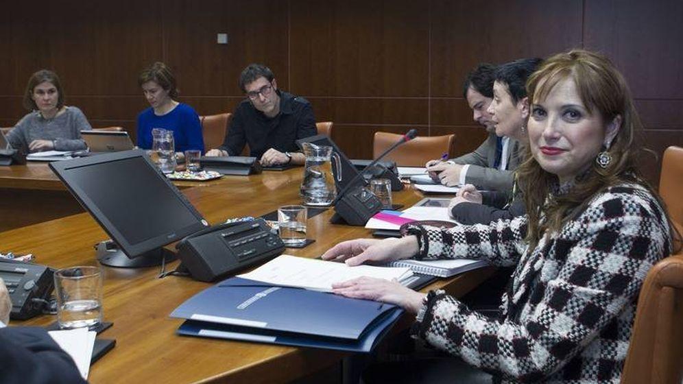 Foto: María Jesús San José presenta en el Parlamento vasco las líneas generales de su departamento. (EC)