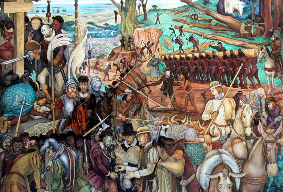 Foto: Mural de Diego Rivera, uno de los 'contibuyentes' a la leyenda negra de España.