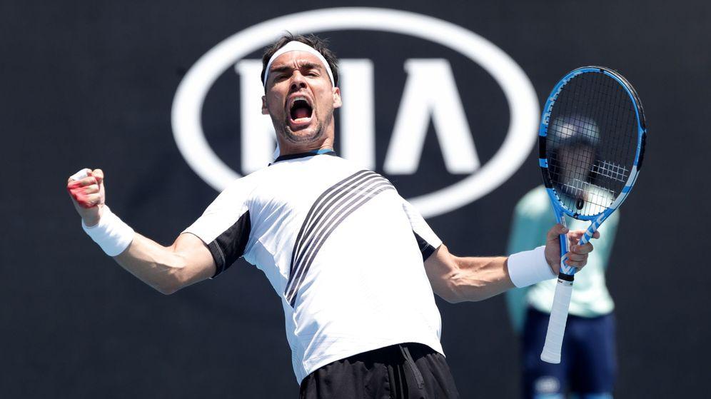 Foto: Fabio Fognini celebra un punto durante su encuentro contra Reilly Opelka en primera ronda del Open de Australia. (Reuters)