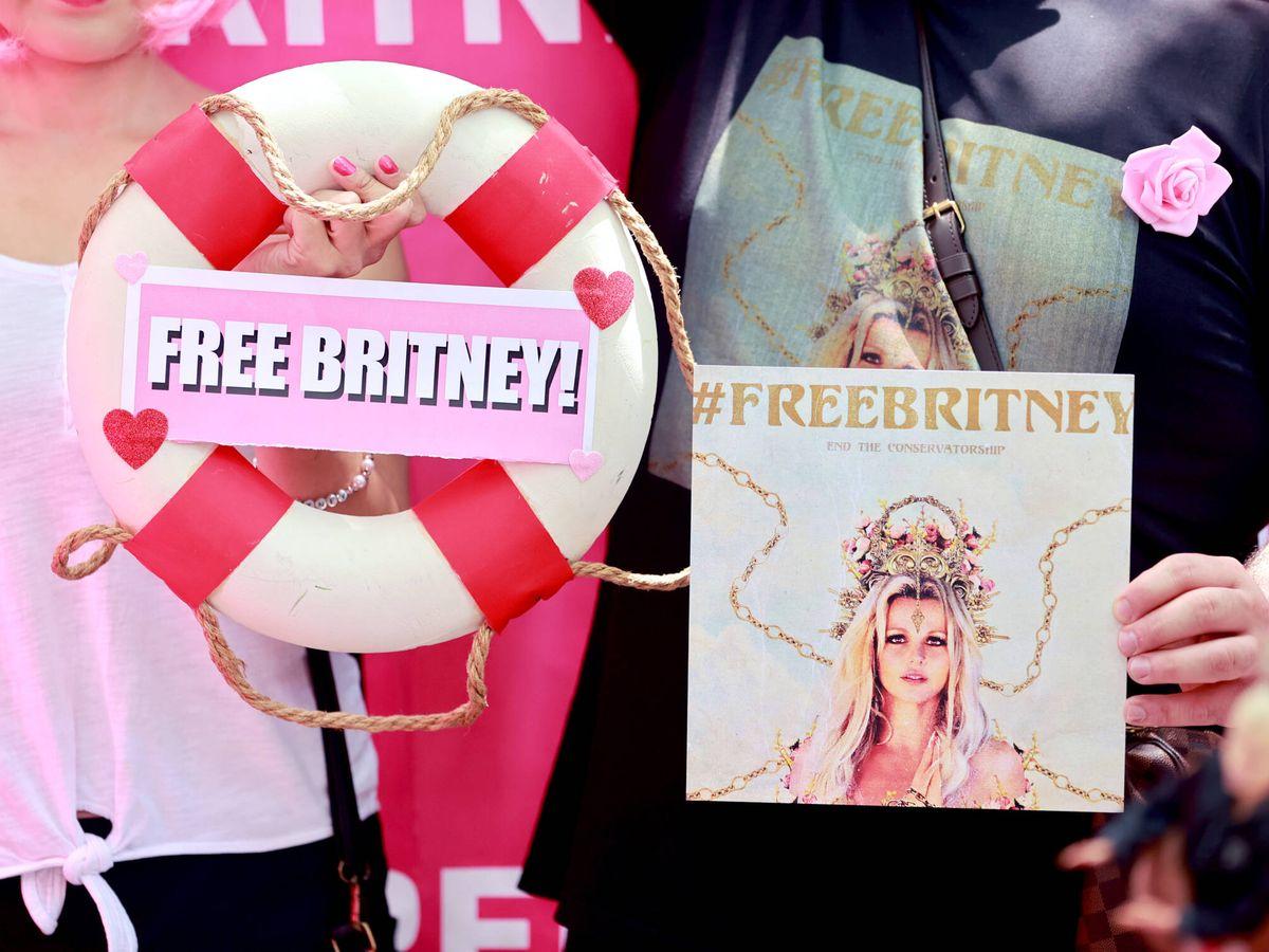 Foto: Fans de Britney Spears se manifiestan en Los Ángeles. (Getty)
