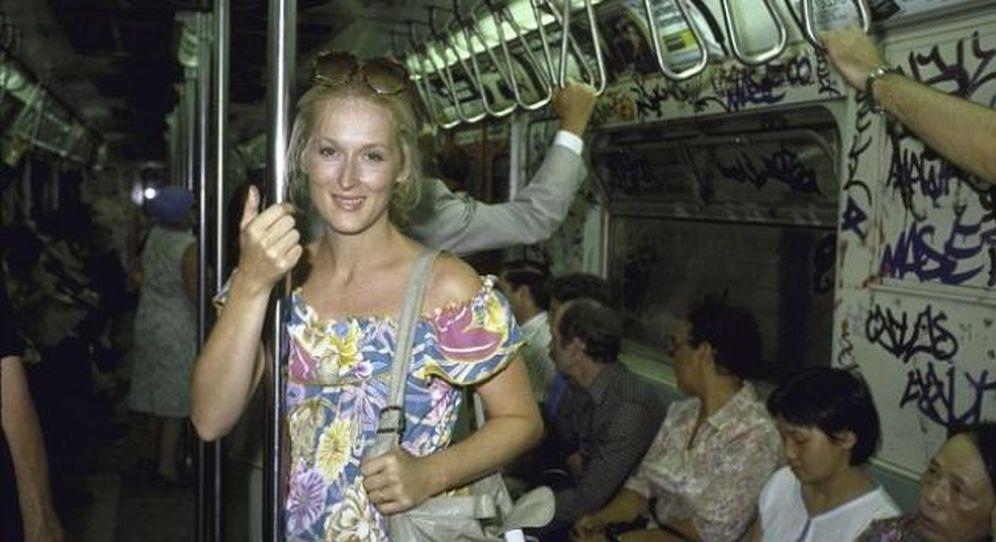 Foto: Meryl Streep en el metro de NY en 1981 (Facebook)