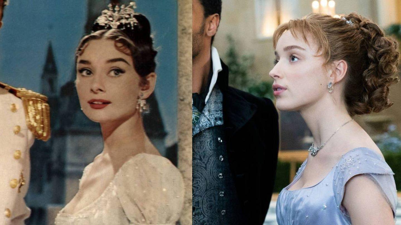 Audrey Hepburn en 'Guerra y paz' y Daphne Bridgerton. (Cordon Press / Netflix)