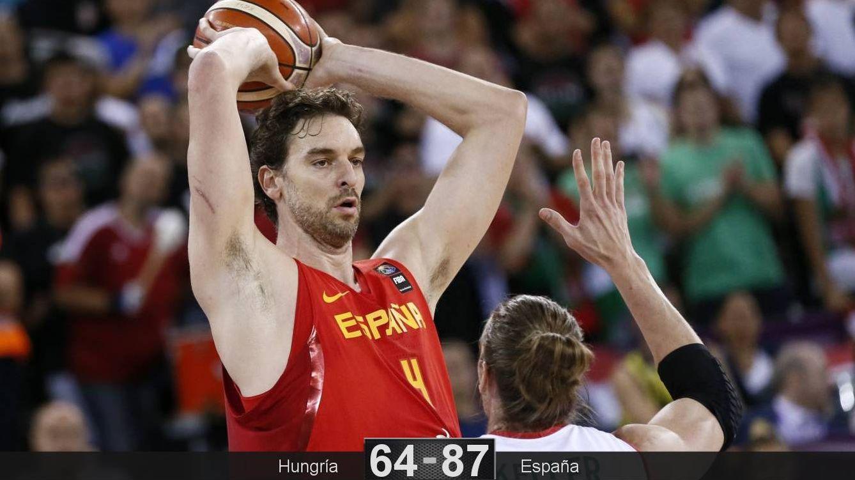 Foto: Pau Gasol anotó 20 puntos en la victoria de España ante Hungría. (EFE)