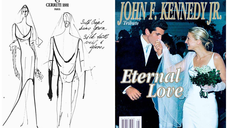 Boceto de su vestido de novia y portada en homenaje a Carolyn Bessette y John Kennedy Jr. (Cortesía y Alamy)