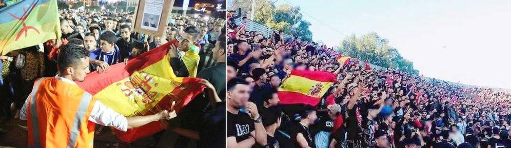 Foto: La bandera española durante una manifestación en Alhucemas en la primavera de 2017, y en la grada del Saniat Ramel de Tetuán