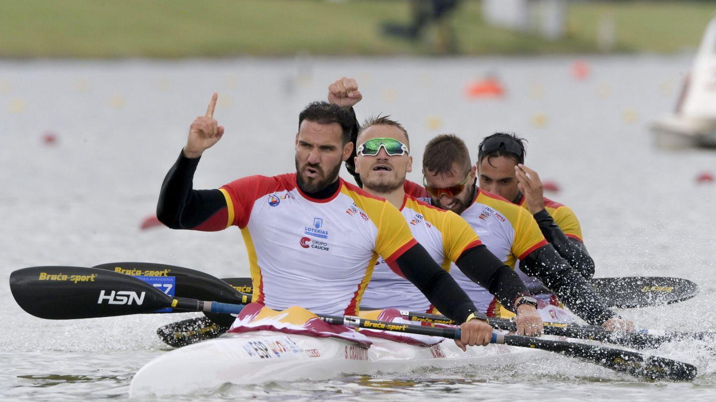 Saúl Craviotto, Marcus Walz, Carlos Arevalo y Rodrigo Germade. (EFE)
