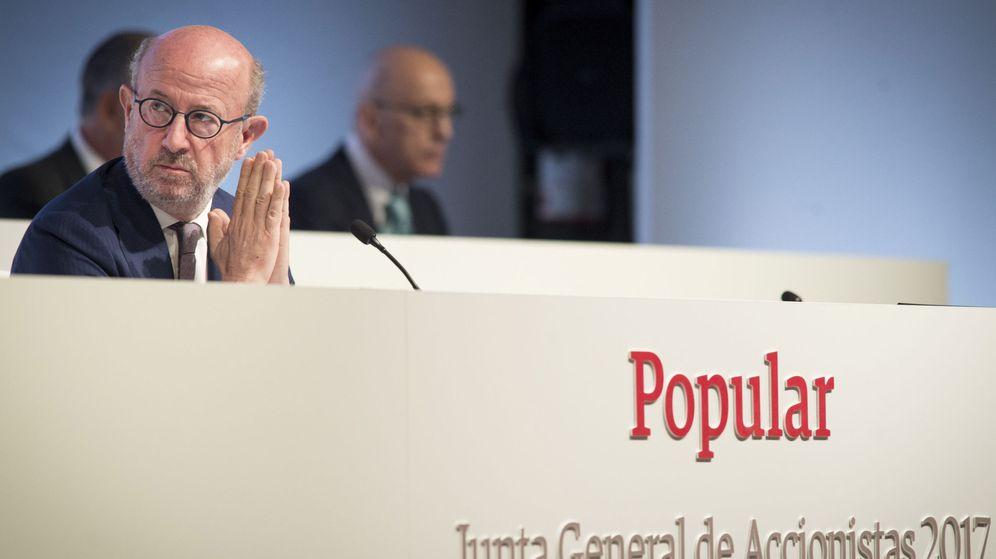 Foto: Emilio Saracho, en la junta de accionistas del Banco Popular. (EFE)