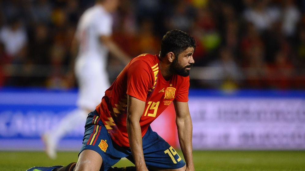 Foto: Diego Costa no pudo ver puerta ante Suiza en el amistoso jugado en Villarreal. (EFE)