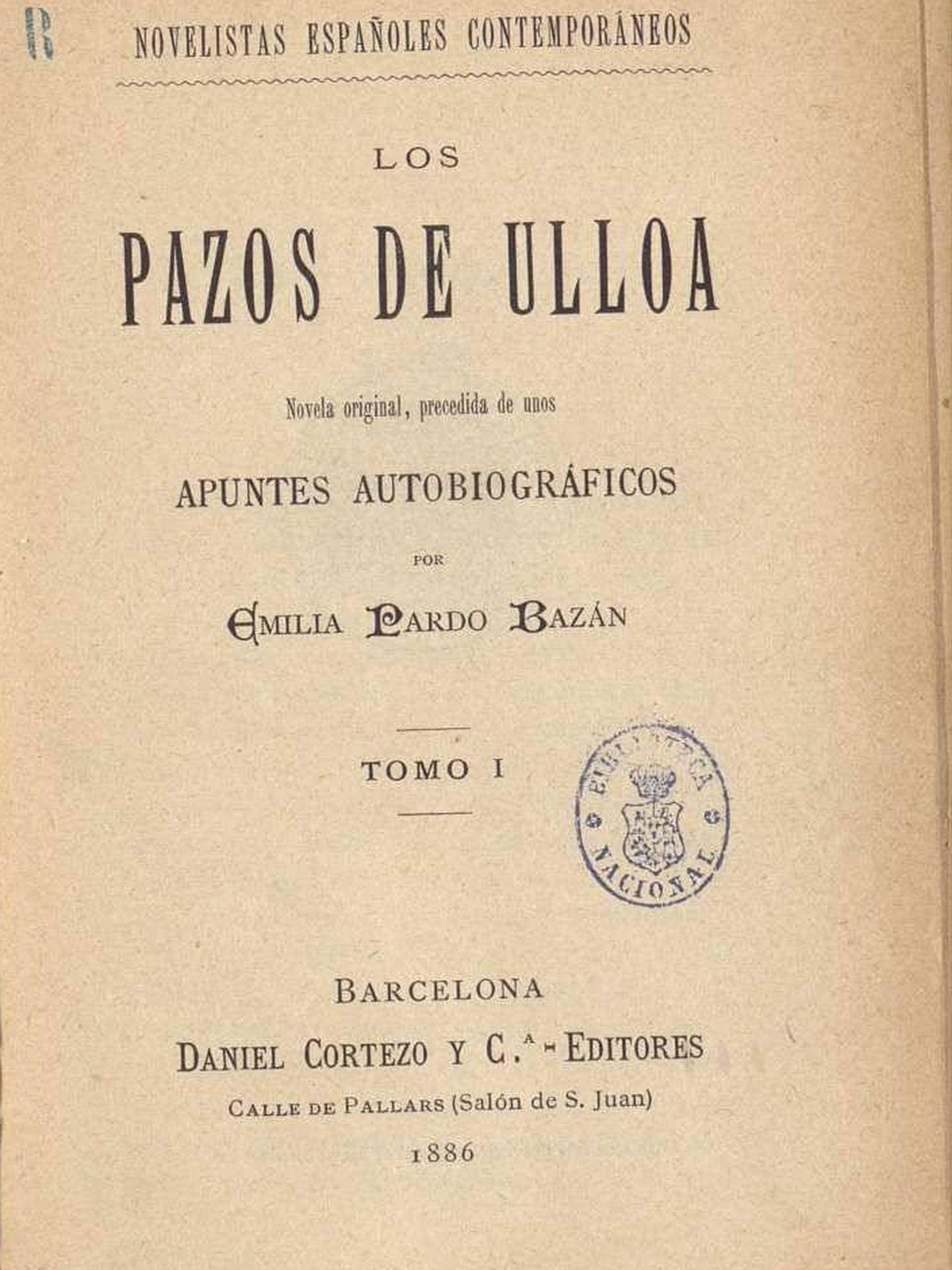Primera edición de 'Los pazos de Ulloa'. (1886)