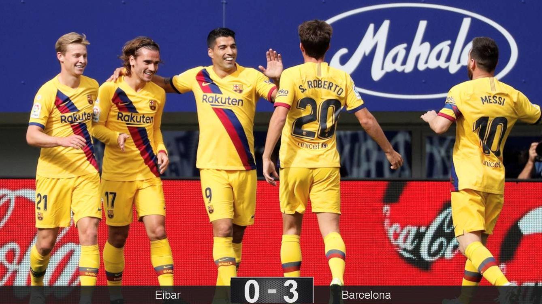 Foto: Los jugadores del Barça celebran el primer gol de Griezmann. (EFE)