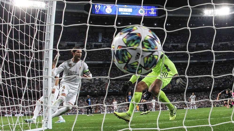 Foto: Sergio Ramos celebra un gol ante el Brujas. (EFE)