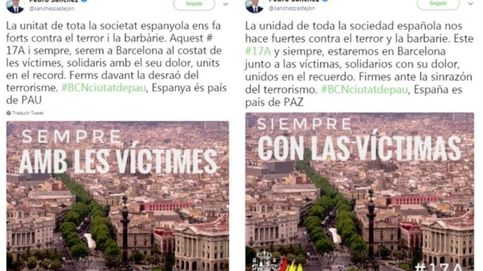 Sánchez quita la bandera española del recuerdo a las víctimas en catalán