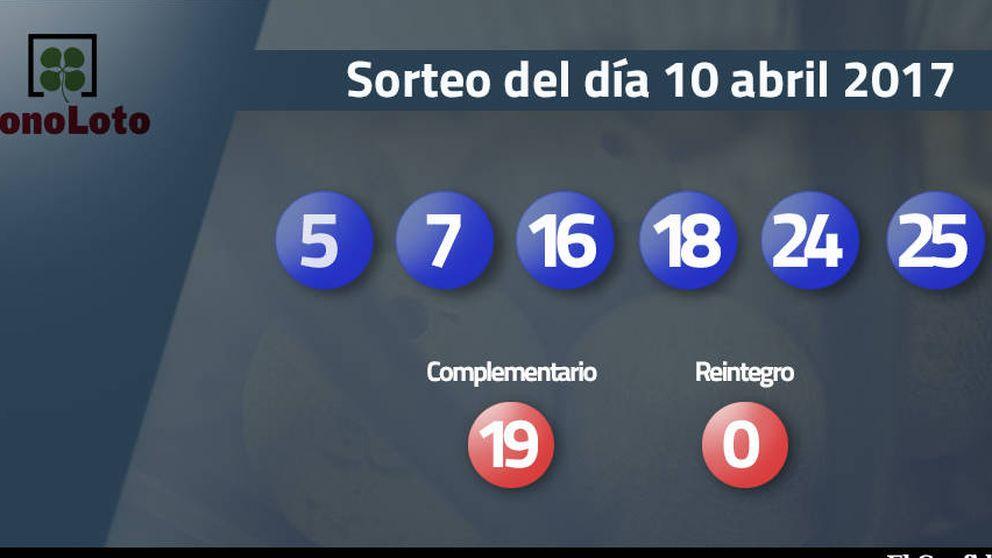 Resultados de la Bonoloto del 10 abril 2017: números 5, 7, 16, 18, 24, 25