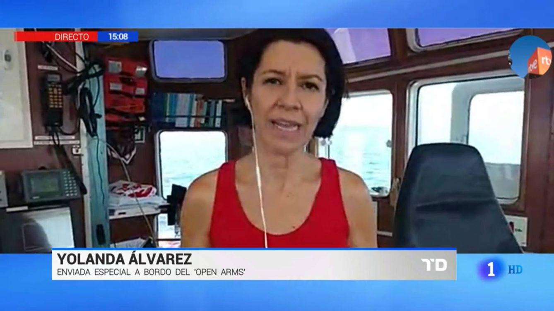 Una reportera de TVE acelera su conexión desde el 'Open Arms' por temor a una avispa