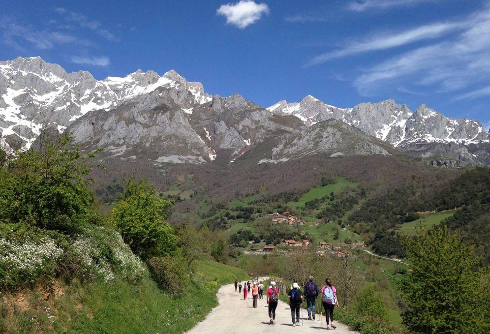 Foto: Peregrinos por el camino lebaniego con los Picos de Europa al fondo. (Foto: Turismo de Cantabria)