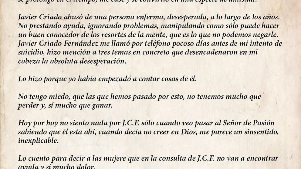 Matilde Solís: lea aquí la carta íntegra acusando de abusos a su psiquiatra