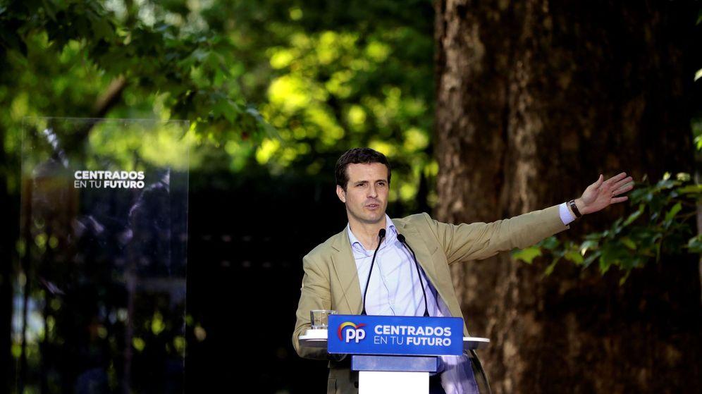Foto: El presidente del PP, Pablo Casado, participa en un acto electoral en Aranjuez (Efe)