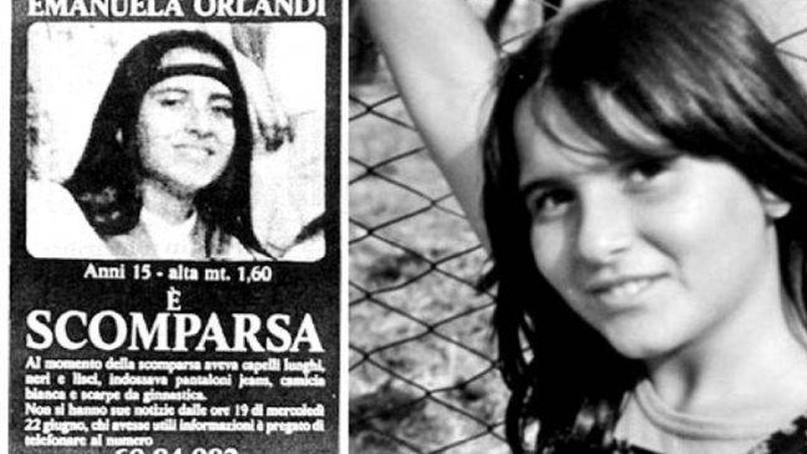 Foto: Cartel de búsqueda de Emanuela Orlandi (I) y la joven (d).