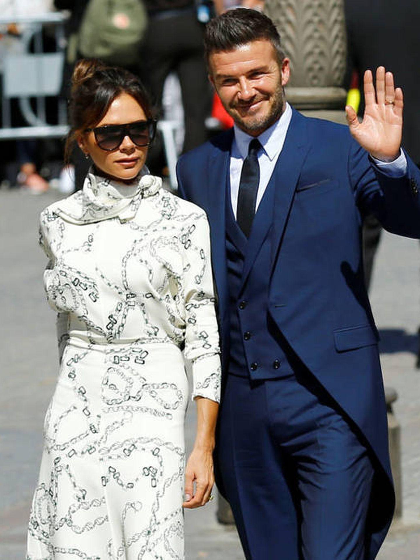 Victoria y David Beckham, en la boda de Sergio Ramos y Pilar Rubio. (Reuters)