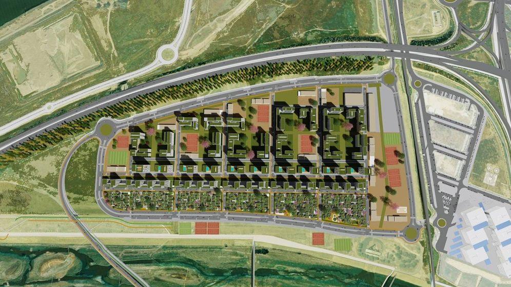 Foto: Imagen virtual de Palmas Altas Sur, con la sede de Abengoa en el extremo inferior derecho. (Imagen: Metrovacesa)