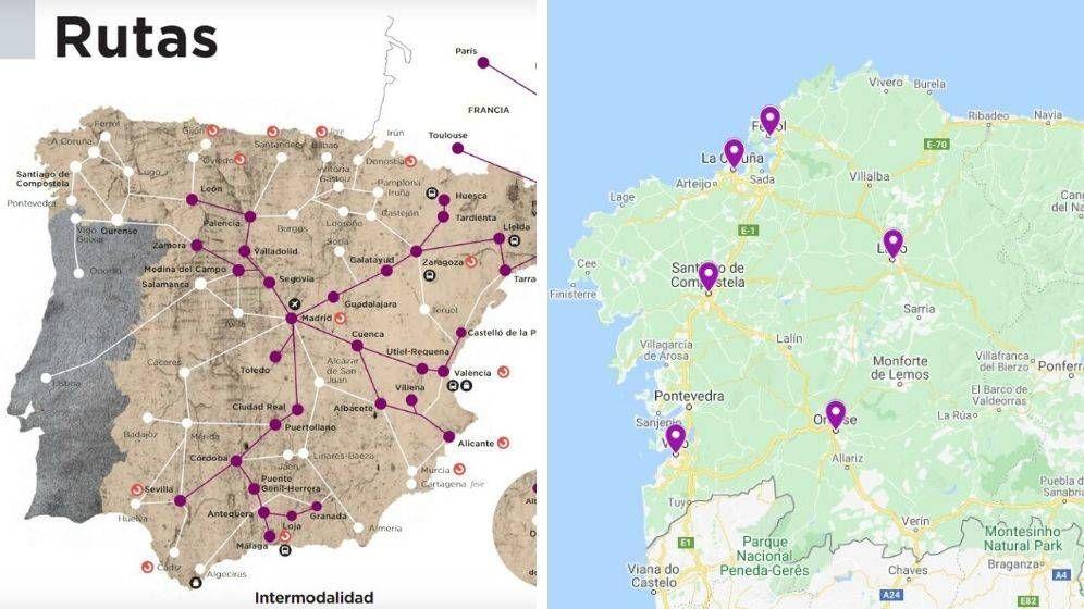 Foto: El mapa de la revista de Renfe sitúa varias ciudades gallegas lejos de su ubicación original