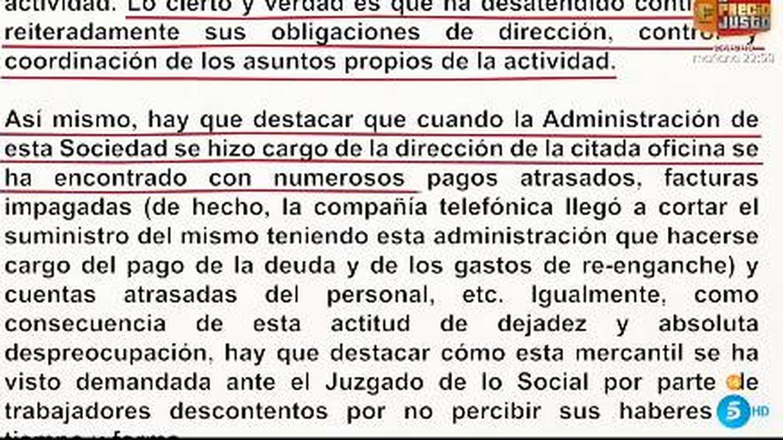 Documento aportado por Rocío Carrasco. (Mediaset)