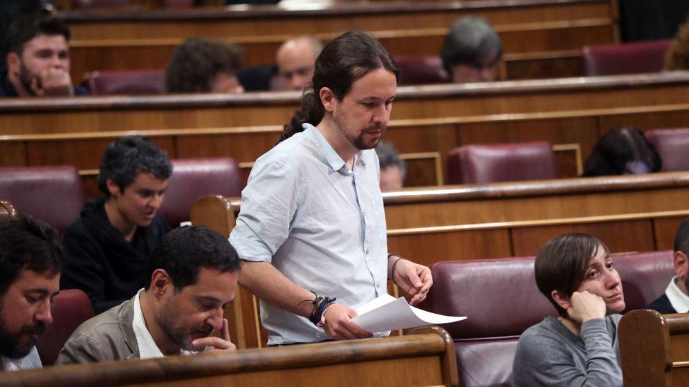 Foto: El líder de Podemos, Pablo Iglesias, durante el debate en el pleno del Congreso de las enmiendas a la totalidad del proyecto de Presupuestos. (EFE)