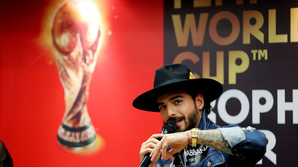 Foto: Maluma, en un evento del Mundial de Rusia 2018 | Reuters
